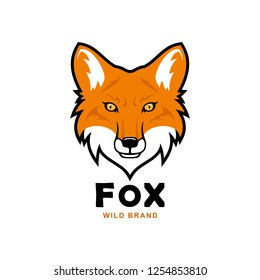 Fox head character. Red fox vector mascot.