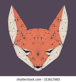 Fox head. Fox face. Fox icon. Polygon vector illustration.