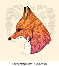 Fox head with floral ornament. Vector