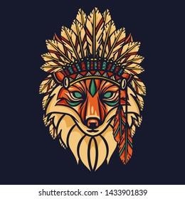 Fox Head Graphic Vector Design Tshirt - vector