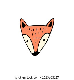 Fox Head Hand Drawn Doodle Vector Illustration