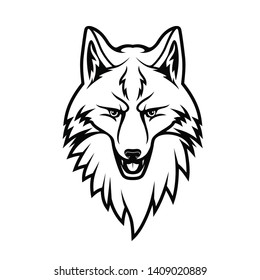 Fox head isolated monochrome icon. Vector forest animal with pointed muzzle, cunning face expression. T-shirt print design, sport team mascot fox or wolf, snout animal, hunting club logo, tattoo sign