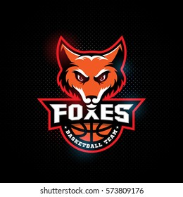 Fox head mascot for a basketball team on a dark background. Vector illustration.