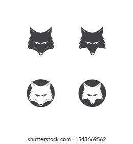 fox head mascot logo vector template