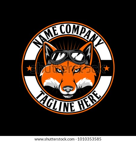 FOX HEAD WITH PILOT GLASSES VECTOR LOGO TEMPLATE