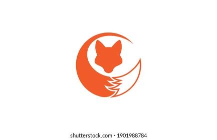 fox head with tail modern logo symbol icon vector graphic design