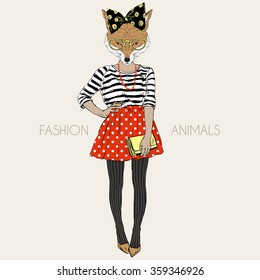 fox hipster girl, fashion animal illustration