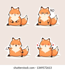 The fox kawaii stickers. Cute cartoon funny kawaii character . Can be used for cards, stickers, flyers, poster, t-shirt. Vector