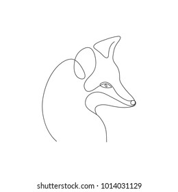 Fox line art icon. Abstract outline fox. Hand drawn minimalism style