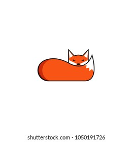 Fox logo, the animal lies with its muzzle on its fluffy tail, the creative logotype of a cunning, sleep smart predator