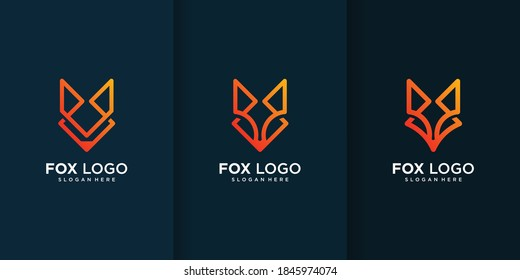 Fox logo collection with different and unique elements Premium Vector