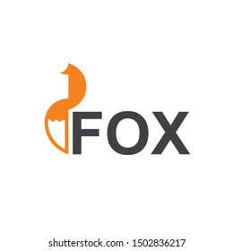 Fox Logo Design Template Isolated On White Background