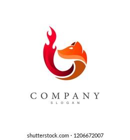 fox logo, fox and fire, application logo, animal symbol
