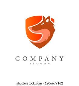 fox logo, fox and shield, defence icon, application icon