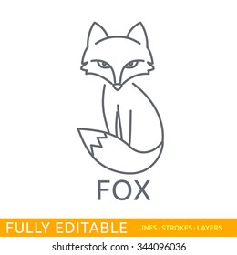 Fox. Logo template. Fully editable outlines, saved lines and layers. Sketch hand drawn design of animals logo. Modern vector concept.