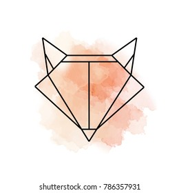 Fox logo with watercolor background. One line icon. Vector illustration.