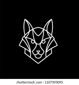 Fox logo of white lines on black background