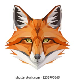 Fox low poly design. Triangle vector illustration.