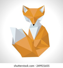 Fox made in the style low poly.Volume illustration