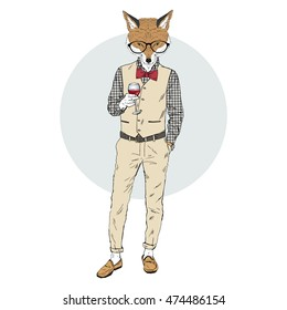 fox man dressed up in retro chic style with glass of wine, furry art illustration, fashion animals