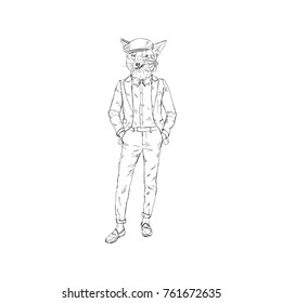 fox man dressed up in retro suit with flower, romantic character