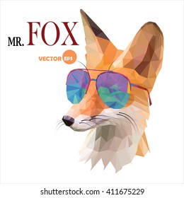 Fox man, Mr. Fox in sunglasses, urban city style, hipster look fashion animal portrait close-up on the white background. Graphic in the low poly style for cartoons hero, book, cards, funny art things