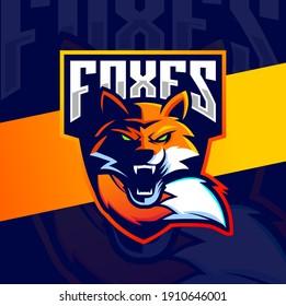 fox mascot design for esport and gaming logo