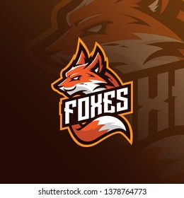 fox mascot logo design vector with modern illustration concept style for badge, emblem and tshirt printing. angry fox illustration for sport team.