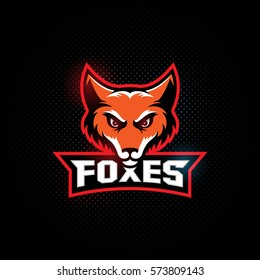 Fox mascot for a sport team on a dark background with a title. Vector illustration.
