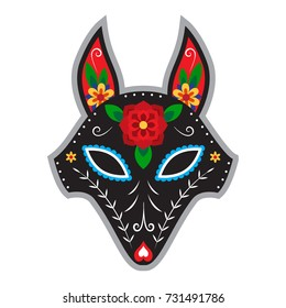 Fox in mexican style for day of the dead or halloween. Dia de los muertos.