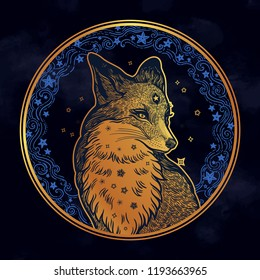 Fox on the background of the moon and stars in vinatge style. Dreamy magic art. Night, nature, wicca, symbol. Isolated vector illustration. Great outdoors, tattoo and t-shirt design. North animal.