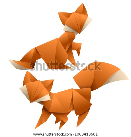 Fox Origami Style Paper Art Stock Vector Royalty Free 1083413681