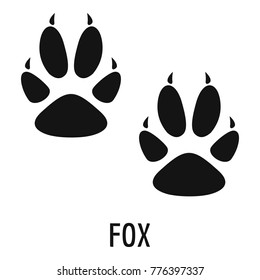 Fox paw footprint icon. Simple illustration of fox paw footprint vector icon for web