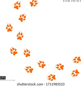 Fox paw prints. Silhouette. Isolated paw prints on white background. Fennec fox