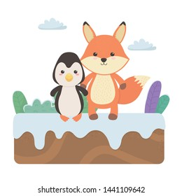 Fox and penguin cartoon design