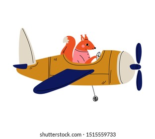 Fox Pilot Flying on Retro Plane in the Sky, Cute Animal Character Piloting Airplane Vector Illustration