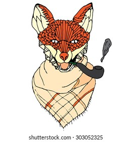 Fox with pipe smoking tobacco