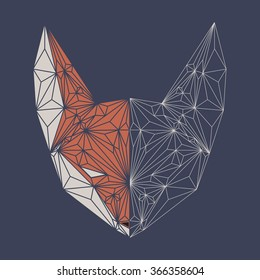 Fox polygon outline head. Vector illustration.