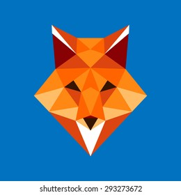 Fox portrait. Abstract low poly design. Vector illustration.