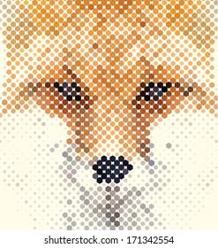 Fox portrait made of geometrical shapes