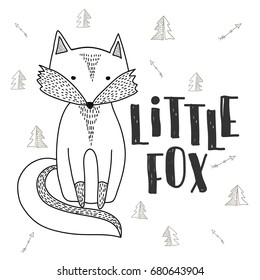 fox poster. hand drawn cute little fox. for childrens card or kids print on fabric.