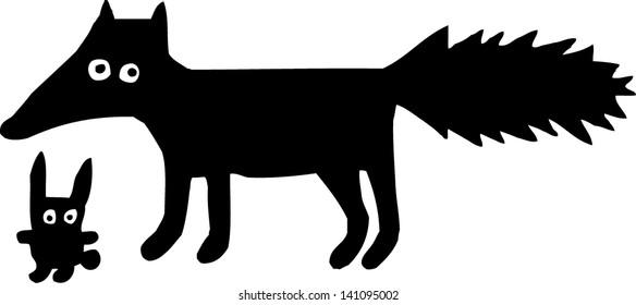 Fox with rabbit. Hand drawn illustration.