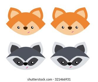 fox racoon close up heads set vector