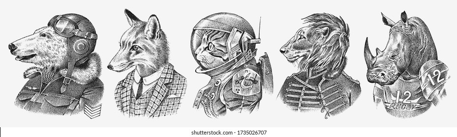 Fox and Rhino dressed up in Suit. Cat astronaut or Spaceman. Lion and Polar bear. Fashion Animal characters set. Hand drawn sketch. Vector engraved illustration for label, logo and T-shirts or tattoo.