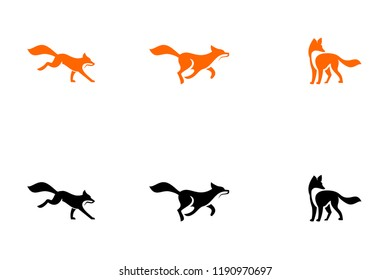 fox run unique logo icon design vector