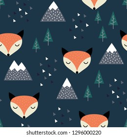 Fox Seamless Pattern Background, Scandinavian Happy cute fox in the forest between mountain tree and cloud, cartoon fox vector illustration for kids nordic background with triangle dots