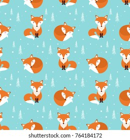 Fox seamless pattern. Vector illustration