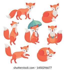 Fox set hand drawn style. Cute Woodland characters playing, sleeping, relaxing and having fun.  Vector illustration.