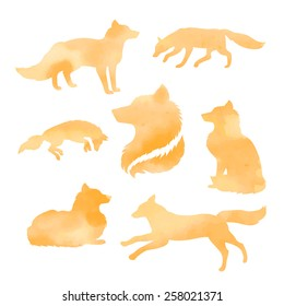 Fox set of watercolor vector orange silhouettes