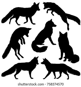 Fox silhouette. Set. Vector illustration isolated on white background